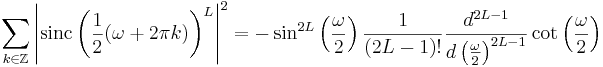 \sum_{k \in \mathbb{Z}} \left|\mathrm{sinc}\left(\frac{1}{2}(\omega + 2\pi k)\right)^L \right|^2 =